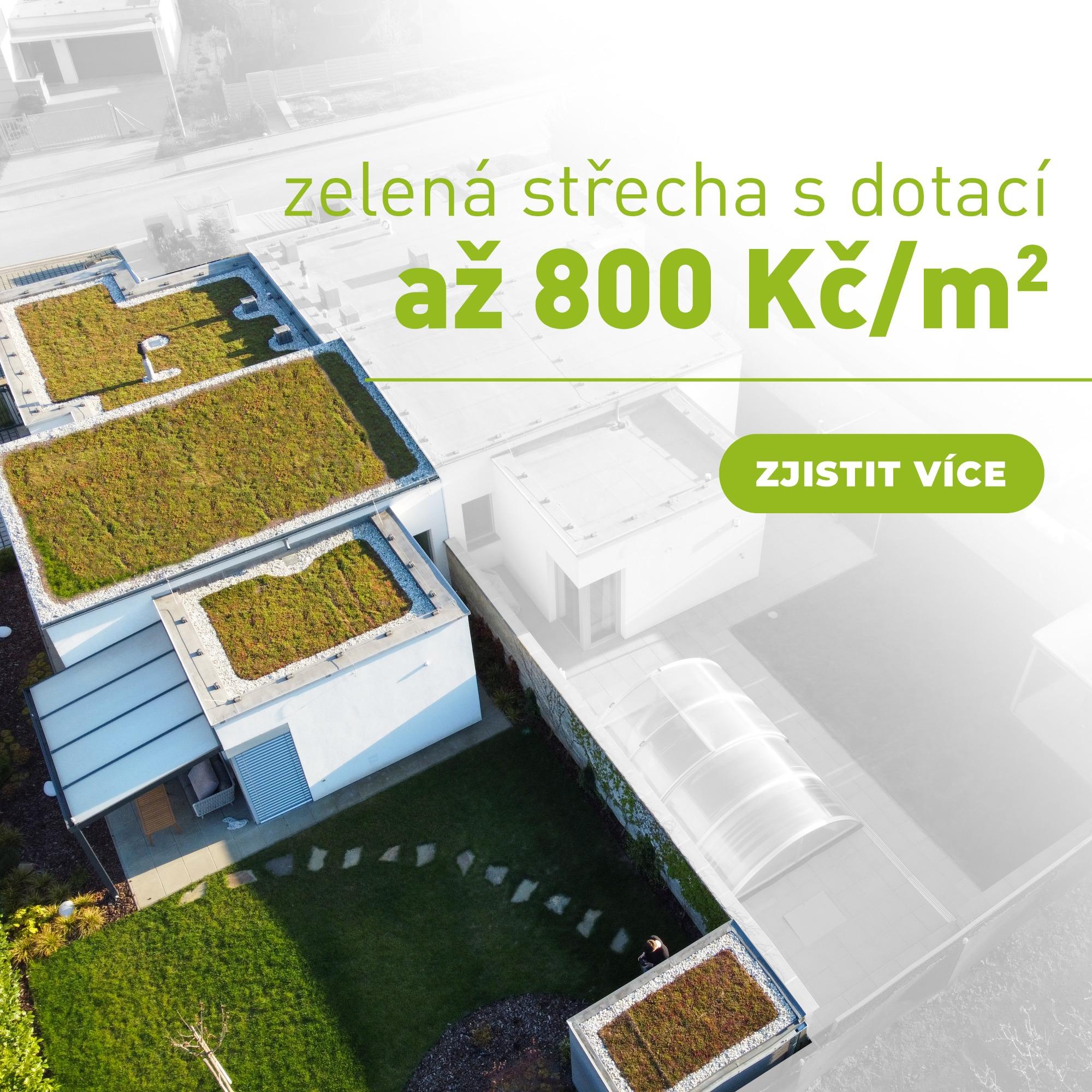 Dotace na zelené střechy zvýšena na 800 Kč za metr čtvereční!